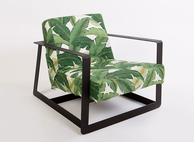 Black Metal Frame Armchair with Tropical Print cover