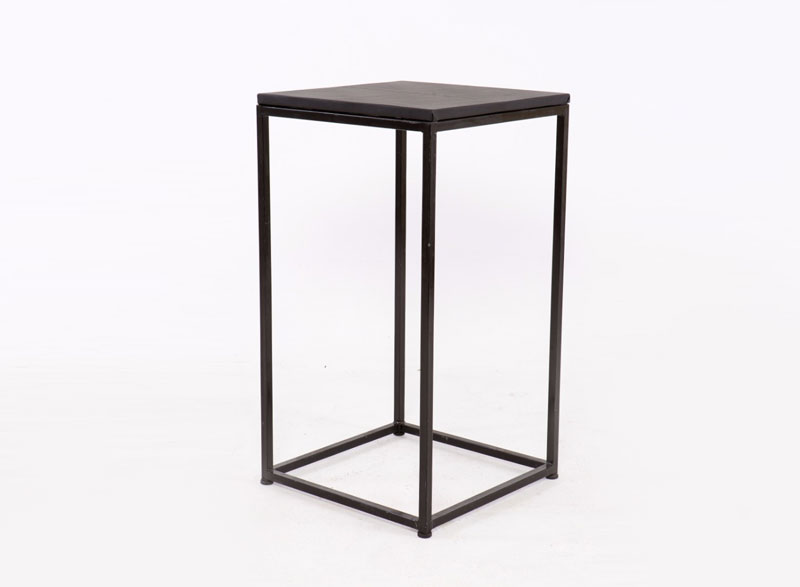 black square cocktail table with black metal legs hire society. Black Bedroom Furniture Sets. Home Design Ideas