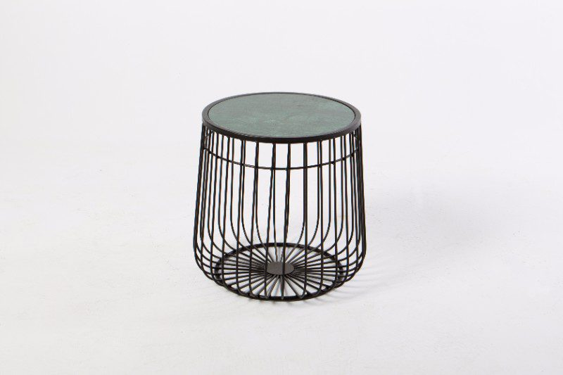 Black Wire Frame Side Table With Green Marble Top