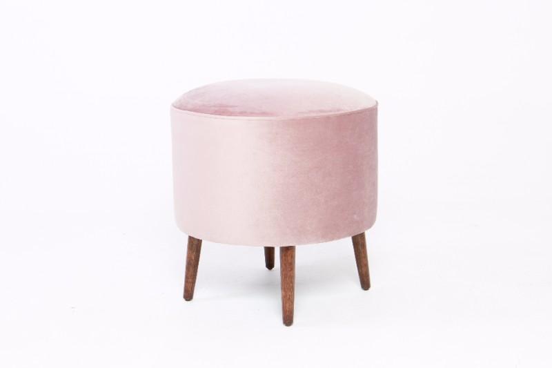 Hire Society - Pink Velvet Round Ottoman