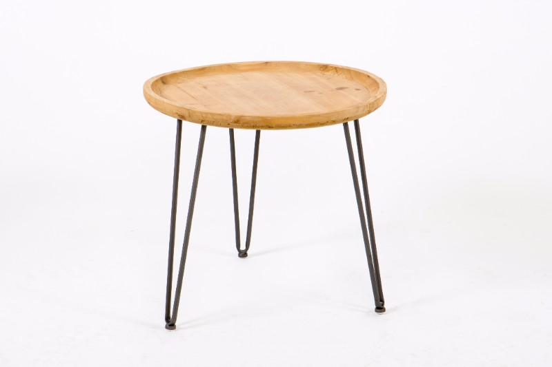 Round Wooden Side Table With Hairpin Legs