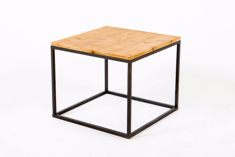 Square Wooden Side Table With Metal Legs