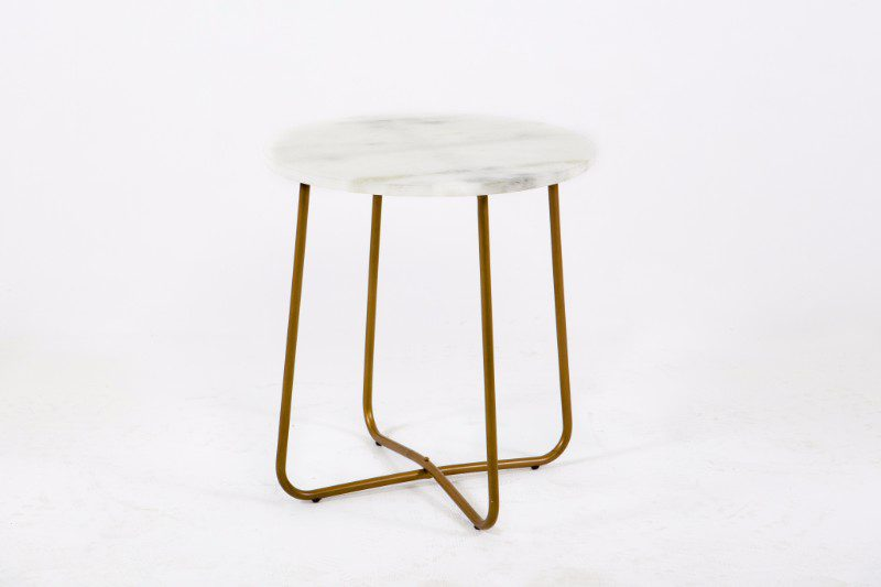 White Marble Top Side Table With Copper Legs