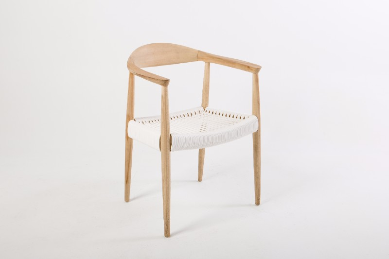 Wooden Curved Back Armchair With White Woven Seat Hire Society