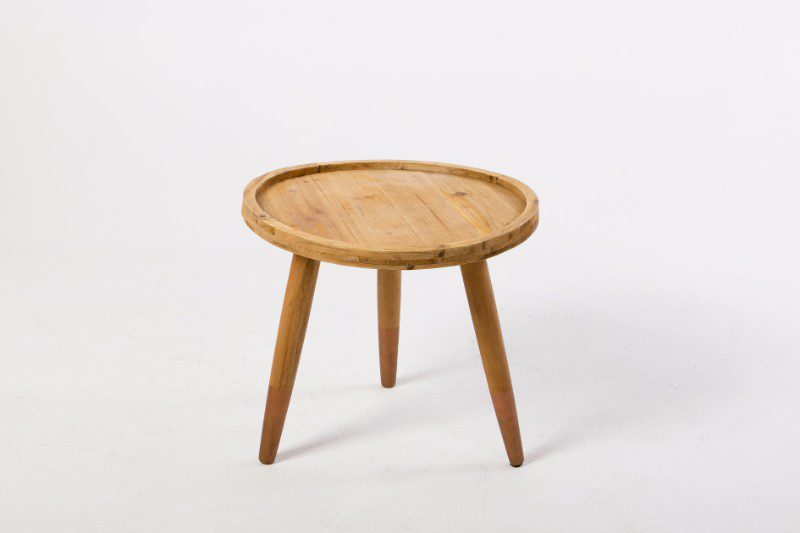 Round Wooden Side Table With Dipped Copper Legs