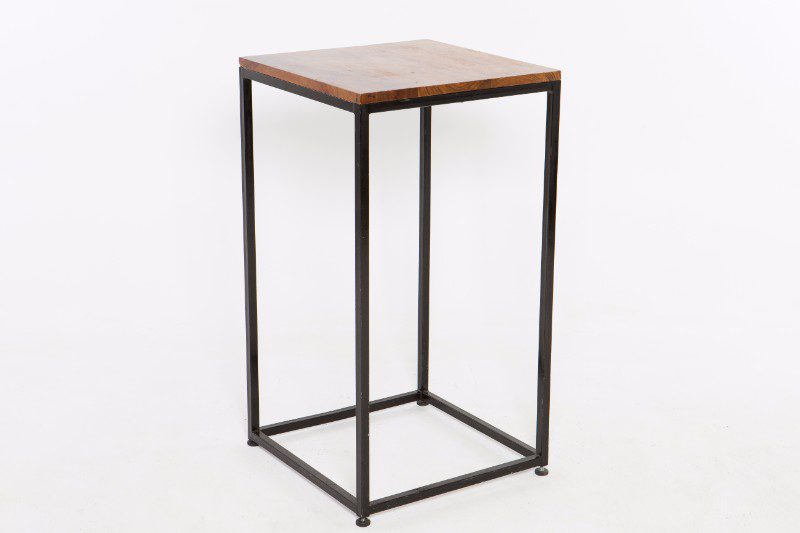 Marvelous Wooden Square Cocktail Table With Black Metal Legs