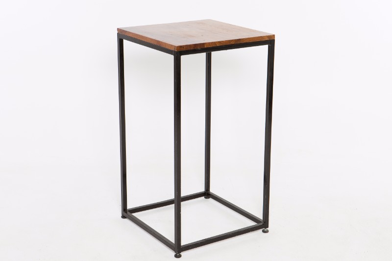 wooden square cocktail table with black metal legs hire society. Black Bedroom Furniture Sets. Home Design Ideas