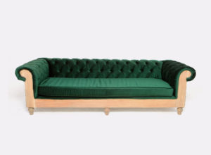 Emerald Green Velvet Chesterfield Couch