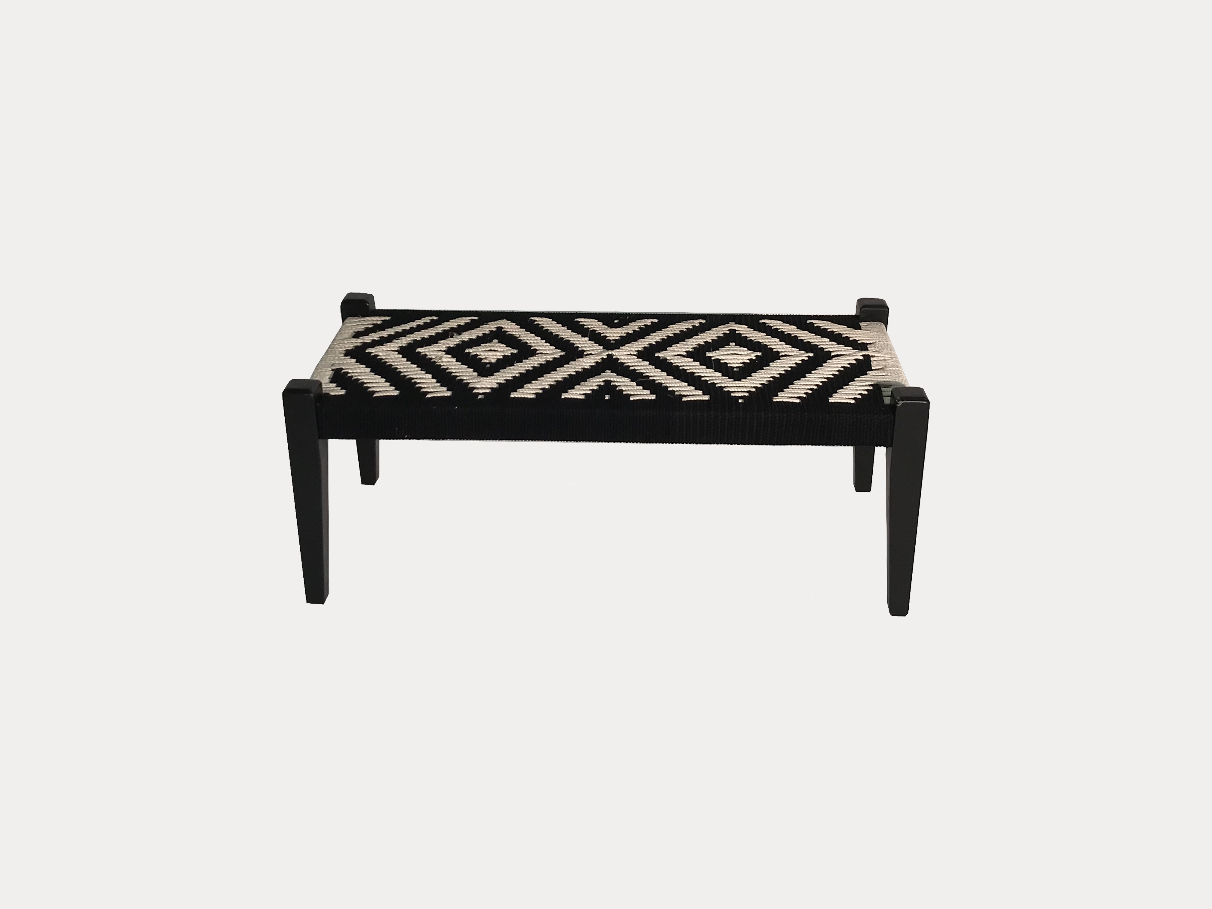 Swell Black And White Woven Bench Pdpeps Interior Chair Design Pdpepsorg