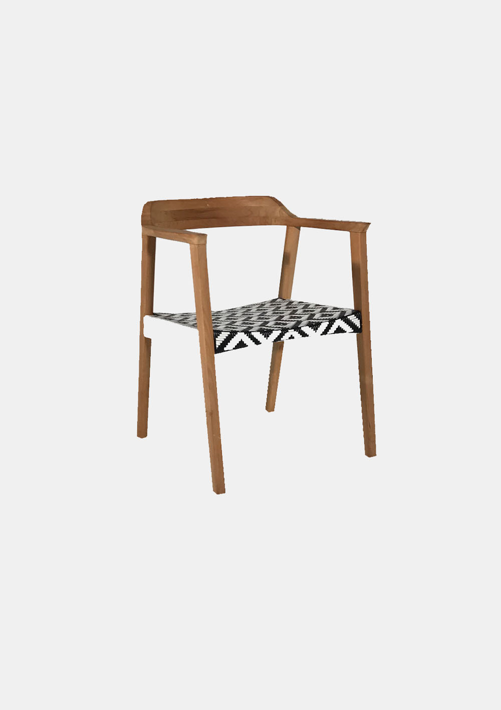 Wooden Curved Back Armchair With Black And White Woven Seat Hire