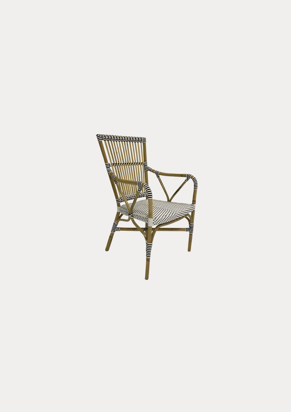 natural cane bistro armchair with black and white woven seat hire society. Black Bedroom Furniture Sets. Home Design Ideas