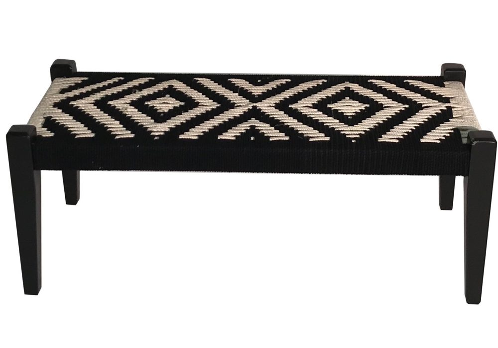Hire Society - Black and White Woven Bench (1) 2