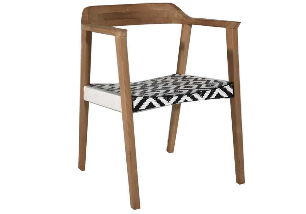 Hire Society - Wooden Curved Back Armchair with Black and White Woven Seat